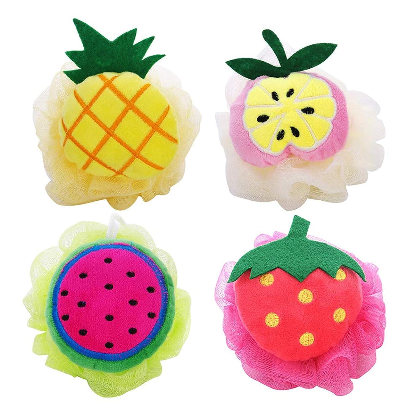 フローまっすぐ上向きHealifty 4本 シャワーボール フルーツ ソフトバスボールメッシュスポン 可愛い 子供用(パイナップル スイカ アップル イチゴ)
