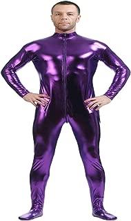D DOLITY Shiny Spandex Full Body Suit Second Skin Bodysuit Zentai Unitard Purple L