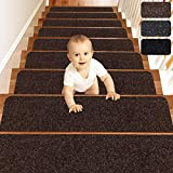 MATAHUM Stair Treads Carpect Non-Slip for Runner Wood Stairs Covers (15-Pack) Indoor for Dogs Elders and Kids, 8''X30'', Brown