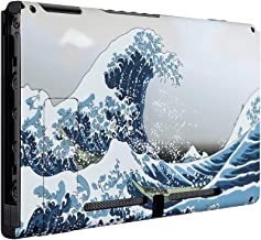 eXtremeRate Soft Touch Grip The Great Wave Console Back Plate DIY Replacement Housing Shell Case for Nintendo Switch Console with Kickstand – JoyCon Shell NOT Included