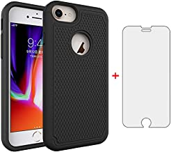 Phone Case for Apple iPhone 7 8 with Tempered Glass Screen Protector Cover and Cell Accessories Slim Rugged Shockproof Silicone iPhone7 iPhone8 i Phone7case Phone8case Phones8 i7 i8 7s 8s Cases Black
