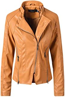 Yshaobinggva Women's Leather Jacket Retro Slim Leather Jacket Casual Motorcycle Leather Jacket (Color : Yellow, Size : XL)