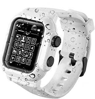 Compatible Apple Watch Screen Protector- IP68 Waterproof Shockproof Impact Resistant iWatch Case+Premium Soft Silicone Apple Watch Band- Compatible with iWatch Series 4 - White [2019 Upgrade Version]