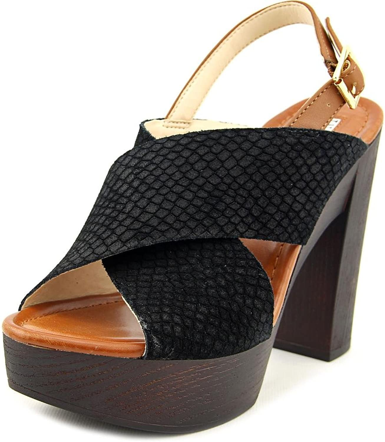 INC International Concepts Womens Cyleb Leather Open Toe, Black, Size 10.0