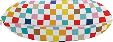 "Lunarable Geometric Travel Pillow Neck Rest, Modern Illustration of Simple Abstract Colorful Squares in Continuous Pattern, Memory Foam Traveling Accessory for Airplane and Car, 12"", Multicolor"