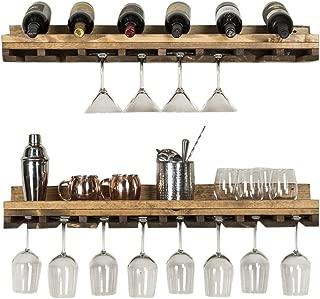 Del Hutson Designs Rustic Luxe Tiered Glass Racks, Set of 2, Dark Walnut