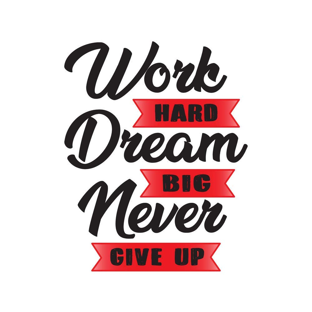 20 Ace Work Hard Dream Big Never  Motivational Quotes Inspirational  Quotes Gym Poster  Wall Sticker Paper PosterSize20x20 inch,Multicolor