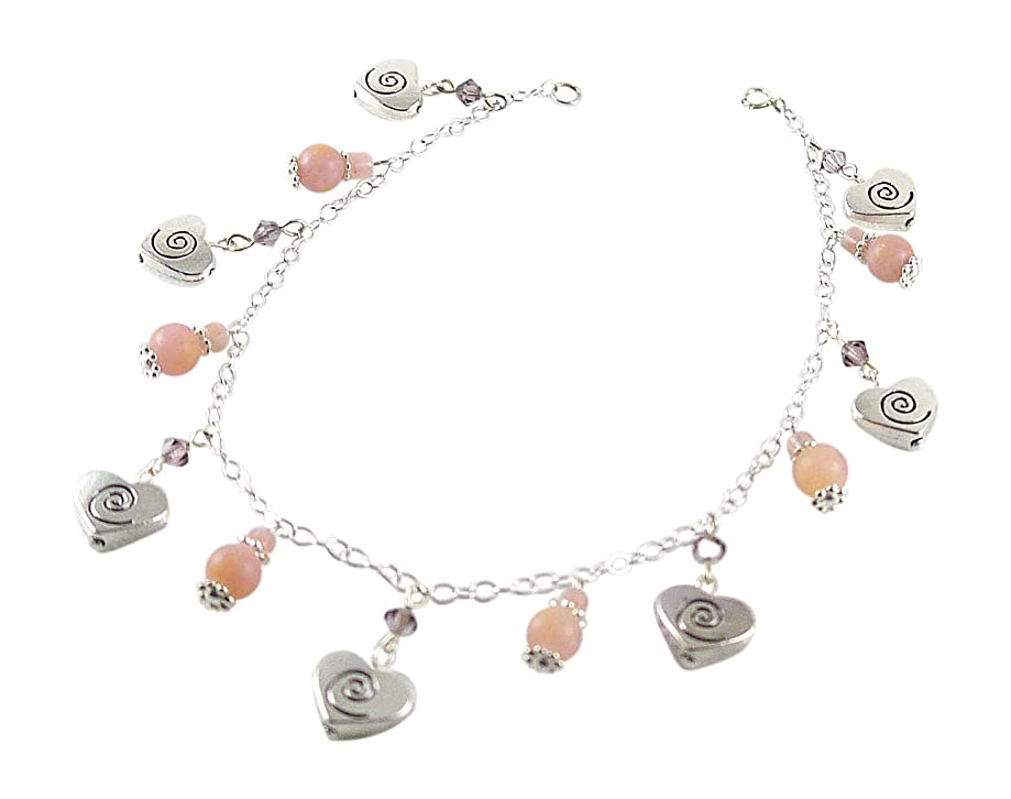 Kit Johnson Designs Pink Opal Anklet wiith Dangling Celtic Hearts, Crystals by Swarovski, 9 1/2