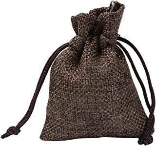 50 pcs Burlap Pouches Drawstring Gift Bag Jewelry Storage Sacks for Wedding Party Birthday Christmas DIY Craft,Coffee,17x23cm