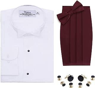 Mens White Wingtip Tuxedo Shirt Bowtie /& Cummerbund Gold Trim Stud Set