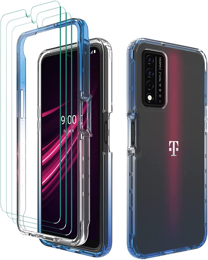 Futanwei Crystal Clear Gradient Cases for T-Mobile REVVL V Plus 5G Case with (3 Pack) Tempered Glass Screen Protector, Full Body Ultra Clear Gradient Color Case for T-Mobile REVVL V Plus 5G, Blue