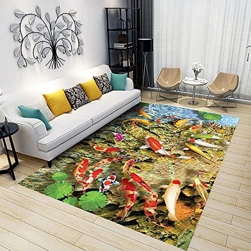LOVEXIN Alfombra Patrón de Flores 3D Antideslizante para Cuarto de Estar, Dormitorio, Sala de Juegos, Color Alfombra Decorativa, C,80 * 160cm