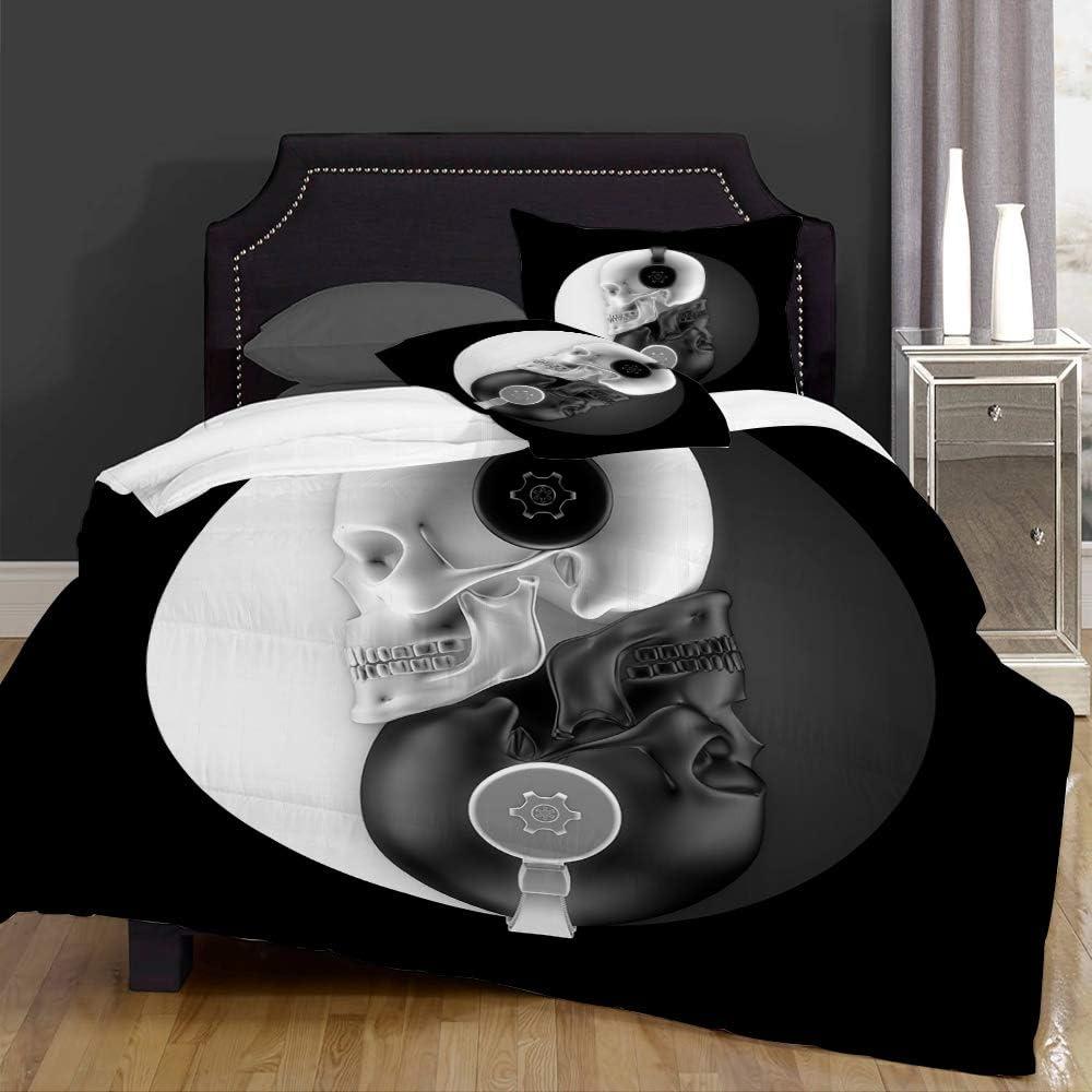NOT Duvet Cover Set-Bedding Max 90% OFF Headphone 3D Skulls of Black El Paso Mall Harmony