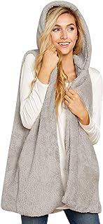 花千束 モコもこ ベスト ファイクファー 開襟シャツ フード付き パーカー 可愛い 秋冬 暖かい プレゼント 大きいサイズ ライトアウター