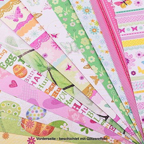 CRELANDO® Bastelset Frühjahr & Ostern - Designpapierblock, 12 Blatt (150 g/m2)