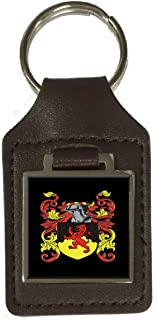 Ayres Family Crest Surname Coat Of Arms Brown Leather Keyring Engraved