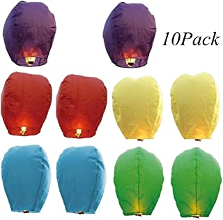 Sky Lanterns Flying Paper Lanterns Wish Lanterns for Birthday Wedding Party Anniversary Chinese Lanterns Assorted Colors100% Biodegradable Environmentally Friendly (10 Pcs)