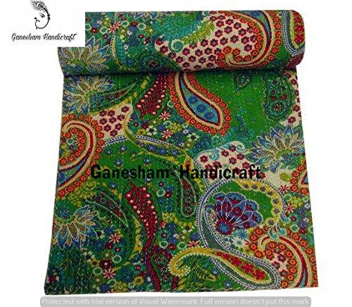 Couverture indienne hippie et décoration de chambre à coucher, couvre-lit indien fait à la main, linge de lit bohémien, couvre-lit, couverture indienne, couvre-lit en coton, literie Kantha, couvre-lit vintage Kantha