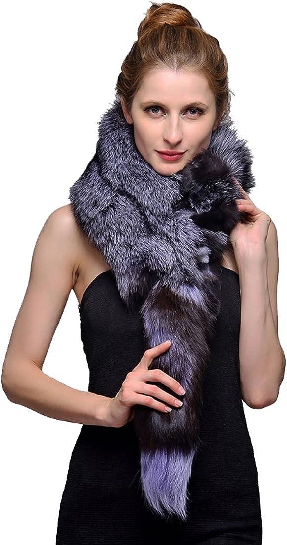 URSFUR Silver Indigo Fox Fur Knit Shawl Stole Natural Color 40 Inch