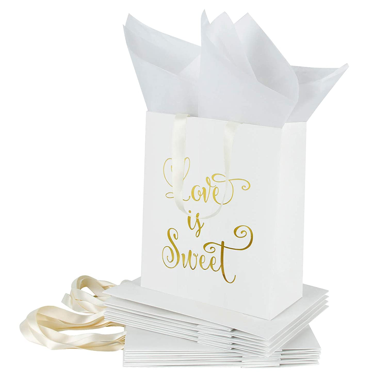 Loveinside Medium Kraft Gift Bags-Love is Sweet Gold Foil White Paper Gift Bag with Tissue Paper - Wedding,Birthday,Party Favor,Bridesmaids Gift-12Pack -8
