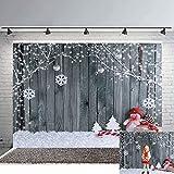 Avezano Telón de fondo de madera para fotografía de Navidad, 2,4 x 1,8 m, fondo de pared, para fotografía de muñeco de nieve