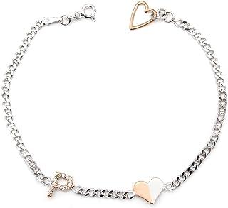 Bracciale iniziale - Bracciale a cuore con lettere - Gioielli con zirconi cubici - Bracciale personalizzabile - Gioielli v...