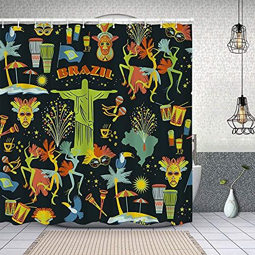 Duschvorhang,Brasilianischer Karneval,Enthält 12 Duschvorhanghaken waschbar,Wasserdicht Bad Vorhang für Badezimmer Badewanne 150X180cm