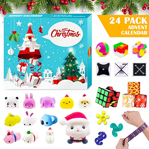 Advent Calendar 2020 Christmas Countdown Calendar, 24 PCS Fidget Relief Stress Toys for Count Down Xmas Holiday Party Favor Kids Adults Challenge
