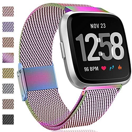 Hamily Kompatibel für Fitbit Versa Armband/Fitbit Versa 2, Metall Ersatzarmbänder mit Starkem Magnetverschluss für Fitbit Versa/Versa 2/Versa Lite/SE Smartwatch, Klein Bunt