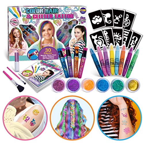 Super Kids Makeup Kit for Girl, FunKidz Temporary Hair Coloring Glitter Tattoo Combo Kit 3-IN-1 Girls Makeup Kit for Party Present