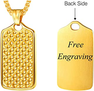 U7 Personalized Dog Tag Necklace Stainless Steel Back Side Customize Message Text Engrave Pendant with 22 Inch Rope Chain