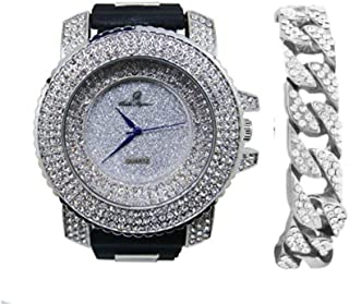Bling-ed Out Silver Hip Hop Black Rubber Bullet Band Watch and Iced Cuban Bracelet - 7973 Silver Cuban