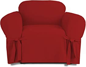 Linen Store Microsuede Slipcover Furniture Protector Cover, Ruby, Chair
