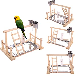 QBLEEV Parrots Playstand Bird Playground Wood Perch Gym Stand Playpen Ladder with Toys Exercise Playgym for Conure Lovebirds