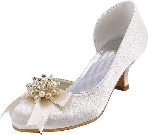 HhGold damen Kitten Heel Elfenbein Satin Hochzeit Abend Prom Pumps Schuhe UK 9 (Farbe   -, Größe   -)