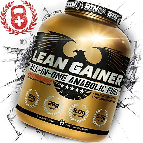 3 KG Lean Gainer All-in-One Anabolic Fuel - Alpine Strawberry Flavour Protein Shake Blend + CREATINE MONOHYDRATE + L-GLUTAMINE + Vitamins