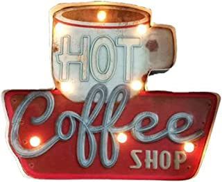 ZEKUI LED Metal Cafe Signs Vintage Hot Coffee Bar/Home Wall Decor Illuminated By Battery Powered