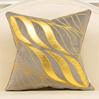 Avigers 20 x 20 Inches Gray Gold Leaves Striped Cushion Case Luxury European Throw Pillow Cover Decorative Pillow for Couch Living Room Bedroom Car