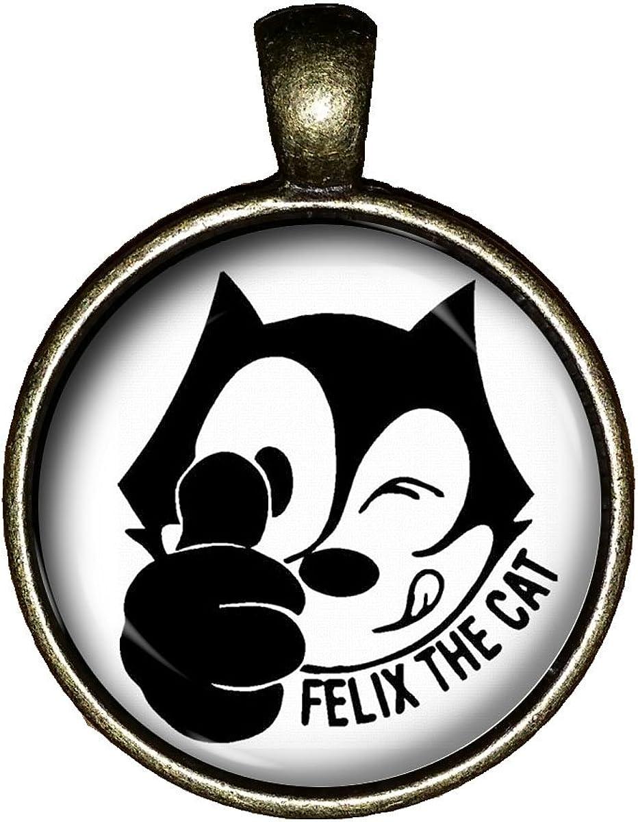 Chaoticfashion Felix The cat Necklace Vintage Cartoon Handmade Jewelry Gift Pendant Charm