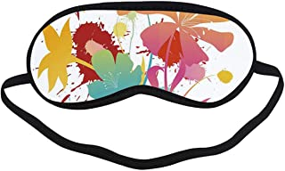"Colorful Fashion Black Printed Sleep Mask,Hawaiian Beach Party Theme with Lively Flowers Abstract Summertime Composition for Bedroom,7.1""L x 3.1""H"