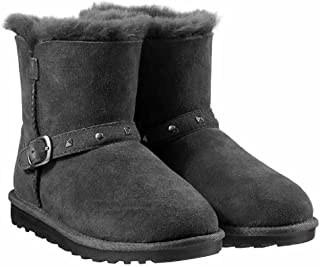 Girls Shearling Buckle Boots with Studs