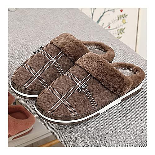 Pantuflas de Algodon Zapatos for Hombres Zapatillas de hogar tamaño Grande 45-50 Adultos Zapatillas de Lujo de Felpa Gingham Masculino Zapatillas de Interior for Hombres Outlets de fábrica
