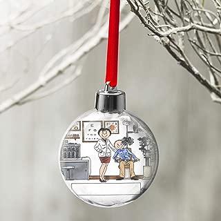 PrintedPerfection.com Personalized Friendly Folks Cartoon Globe Christmas Ornament: Optometrist, Eye Doctor, Ophthalmologist - Female