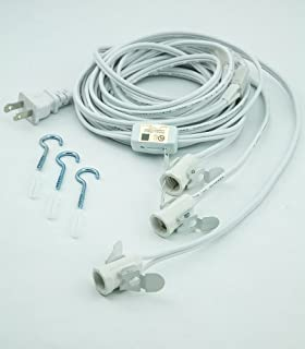 Fantado Clip-in Craft Triple Socket White Pendant Light Lamp Cord, 17 Ft, Candelabra E12 Base by PaperLanternStore