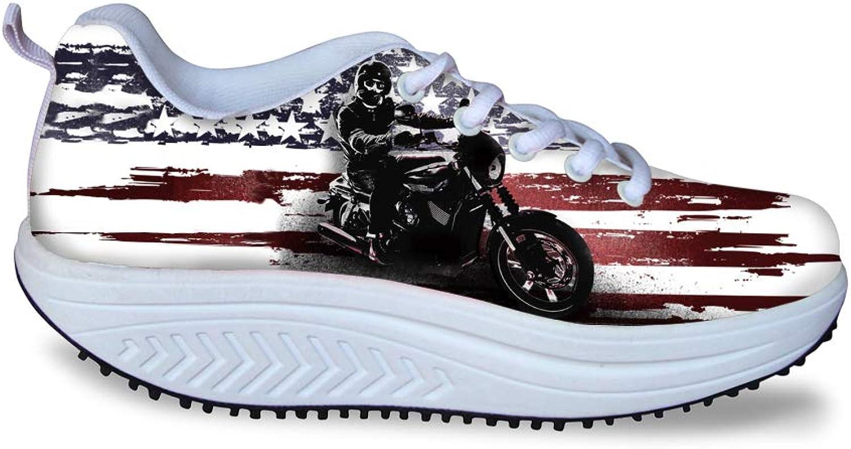 Owaheson Swing Platform Toning Fitness Casual Walking shoes Wedge Sneaker Women American Flag Rider Hero