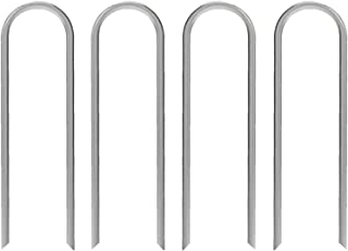 AAGUT 6 Inches Garden Stakes Heavy Duty 11 Gauge Galvanized Yard Staples Lawn U Pegs for Anchoring Tubing Drip Irrigation ...