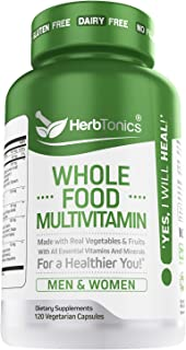 Whole Food Multivitamin for Women & Men with 62 Superfoods From Whole food Markets Real Raw Veggies, Fruits, Probiotic Dig...