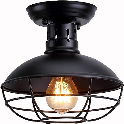 WIVION Lámpara de Techo con Jaula de Metal Industrial, Mini Semi Empotrado, iluminación Colgante, cúpula, con Forma de lámpara, Accesorio, Estilo de casa de Campo (E27): Amazon.es: Hogar
