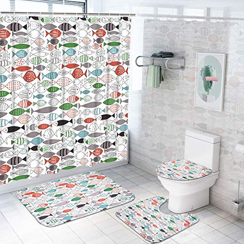 Pknoclan 4Pcs Watercolor Fish Shower Curtain Set with Non-Slip Rug, Toilet Lid Cover and Bath Mat, Ocean Animal Cartoon Shower Curtains with 12 Hooks, Hand Drawn Shower Curtain and Rug for Bathroom
