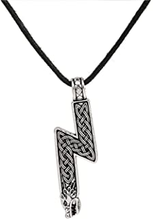 Viking Nordic Rune Pendant Sowilo with Wolf Head Necklace Mens Women Jewelry